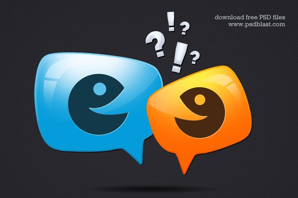 Glossy Discussion Icon (PSD)