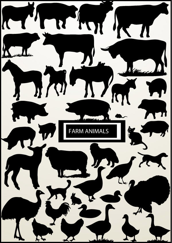 All kinds of poultry, livestock silhouette vector elements