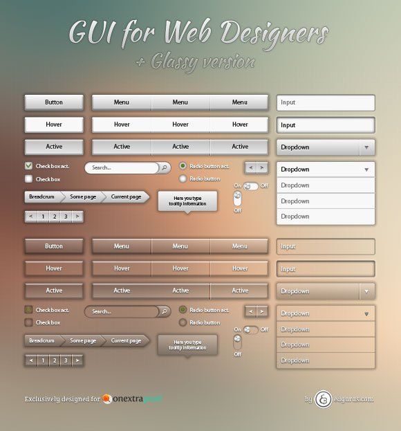 Cool Metallic and Glassy Web GUI Pack