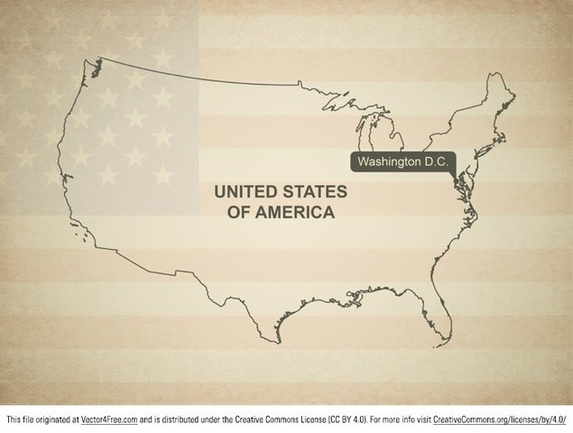 Map Vector of United States of America - flag in background ...