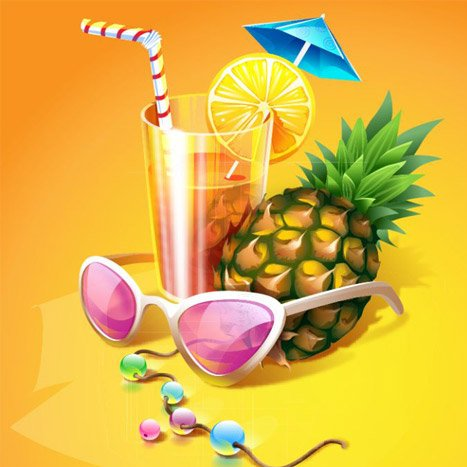 Tropical cocktail illustration