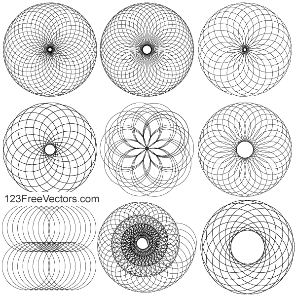 New Line Art Design : Line art circle design elements vector illustrator pack