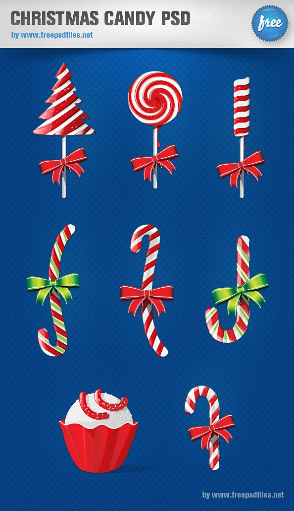 Psd Vector Eps Jpg Download: Christmas Candy PSD Graphics, Vector Files