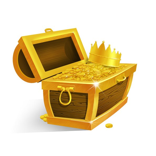 Treasure Chest with Golden Coins and Crown, free vector - 365PSD.com