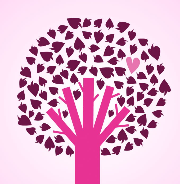 Tree With Hearts Vector Illustration (Free)