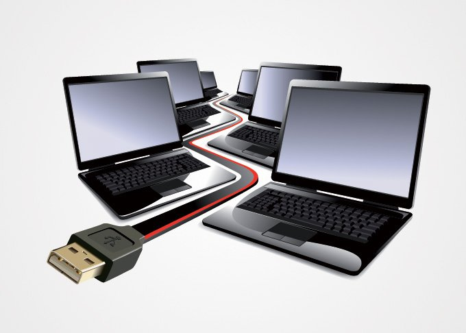 Notebook Computers & USB Cable Technology Background