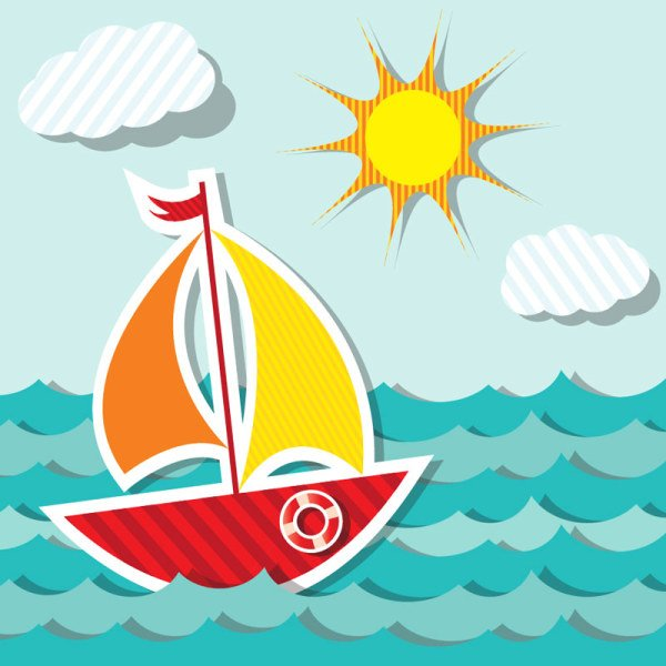 Free vector about cute cartoon ship