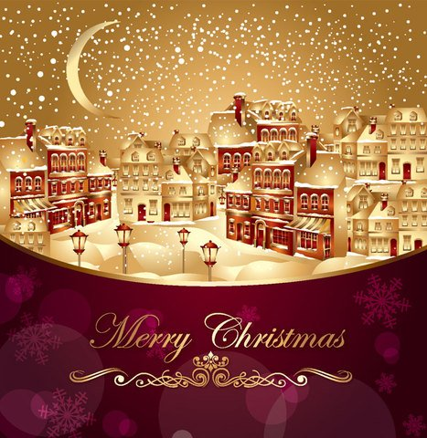 Xmas greeting card vector-1