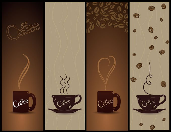 Steaming Coffee Banner for Coffeehouse or Café