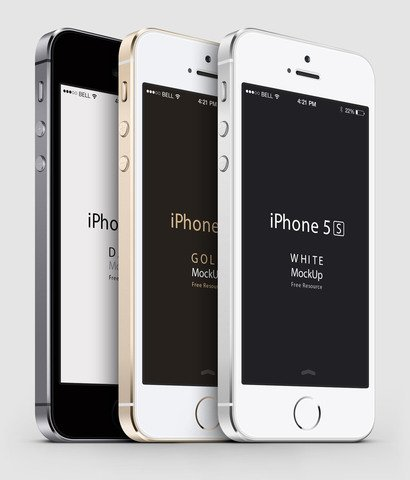 3-4 iPhone 5S Psd Vector Mockup