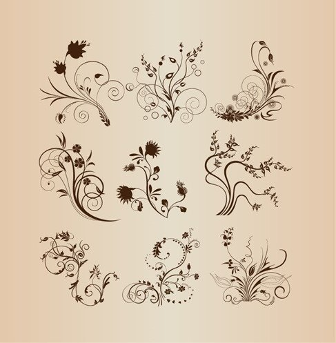 Abstract Floral Design Elements Vector Set