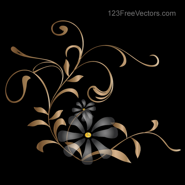 Free Vector Background With Golden Floral PSD Files Vectors Graphics