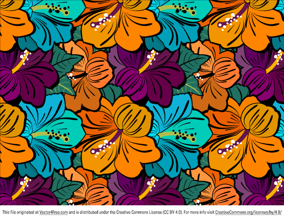 Free Free Hibiscus Flower Pattern PSD files, vectors