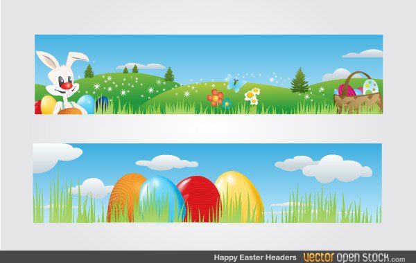 free free vector easter banners with easter bunny basket full of