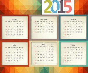 Calendar 2015, colorful square pattern
