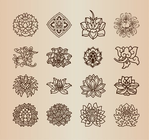 Vintage Flower Pattern Elements Vector Set