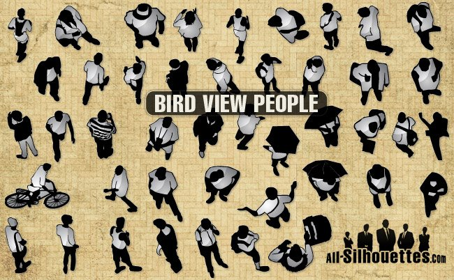 44 Bird view vector people