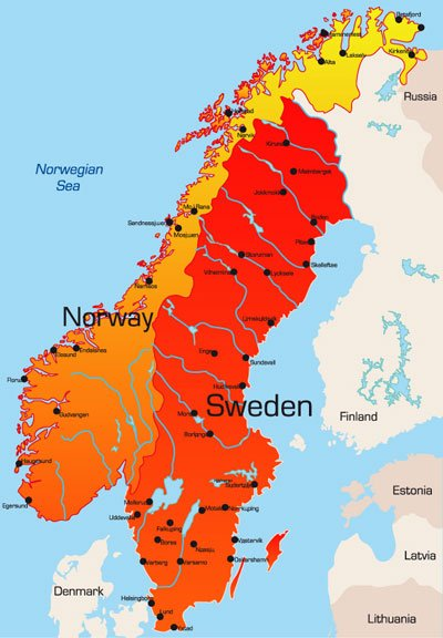 Maps of Sweden and Norway