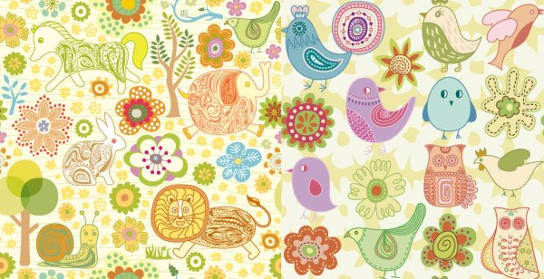 Cute animals vector material flowers
