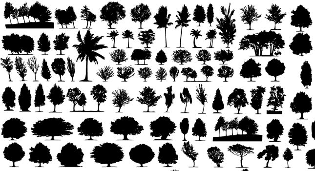 Vector Tree Silhouettes, vector image - 365PSD.com