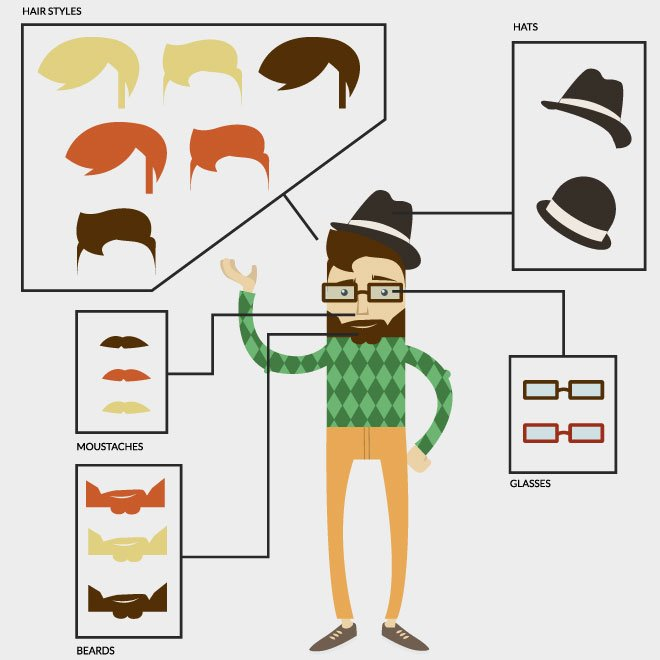 HIPSTER CHARACTER BUILDER VECTOR.eps