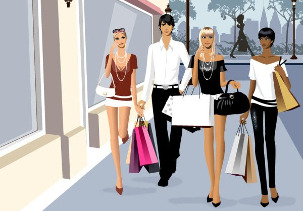 Vector material men and women fashion shopping