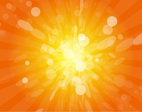 Sun Beams with Orange Yellow Blurred