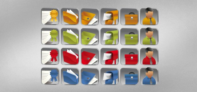 Different Color Business Icons