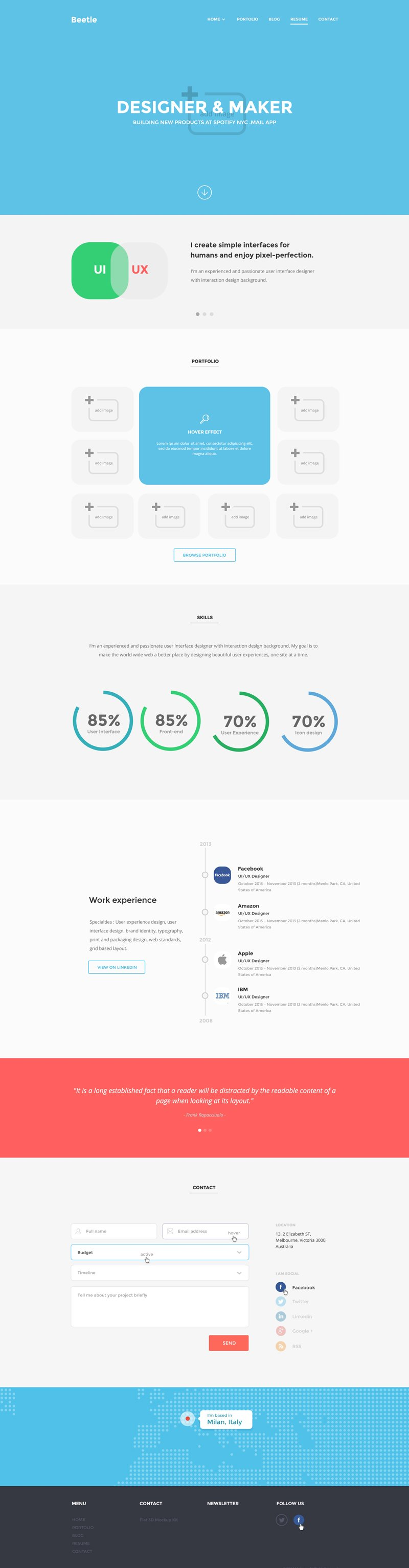 Beetle Resume PSD Template vector images 365PSD