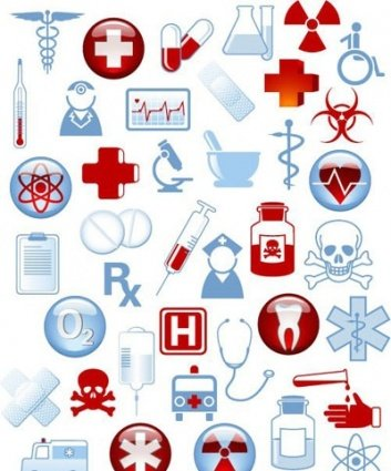Collection of 40 medical icons and warning-signs
