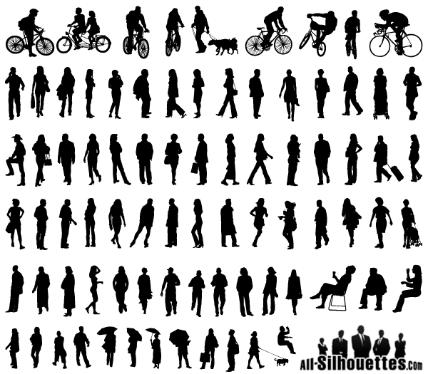 Free Vector Silhouettes Of People Standing Sitting Walking Graphic