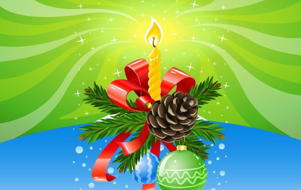 Christmas candle on colorful background