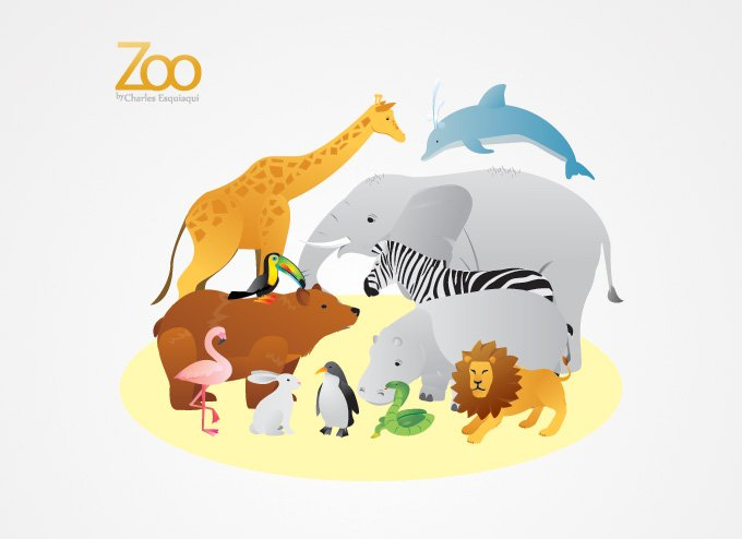 Zoo Animals Vector Illustrations (Free)