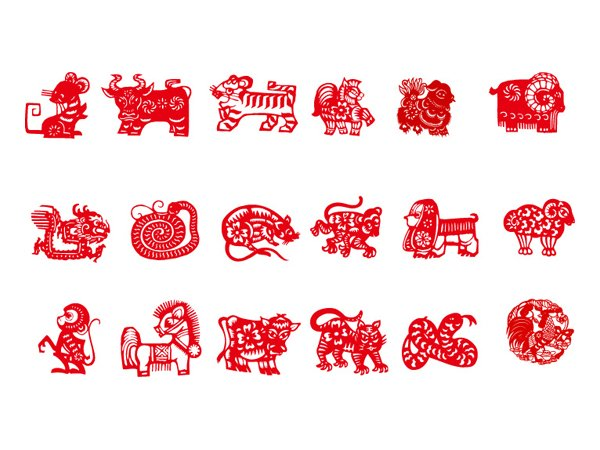Vector of nine Chinese traditional (paper-cut animal)