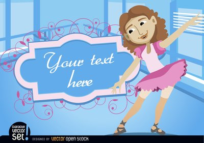 Girl in ballet practice with frame text