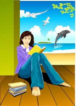 Sit girl position vector 2