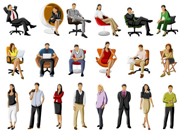 Silhouette of business people men vector free psd vector icons - Free Vector About Cartoon People Working Vector Graphics