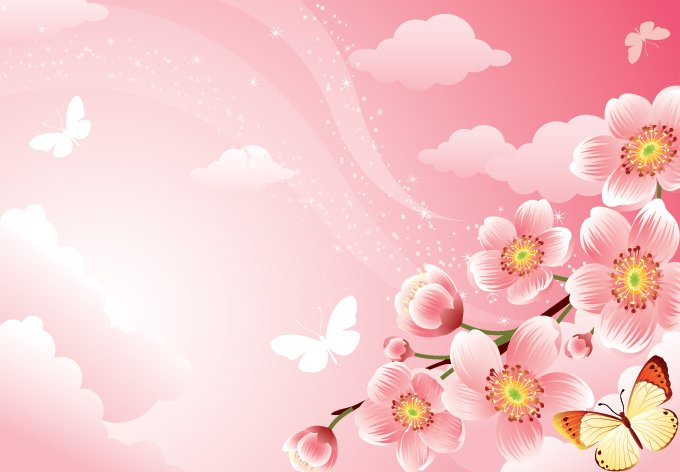 pink floral background with cherry blossoms (free), vector files