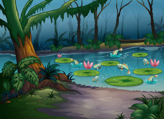 Cartoon natural landscape Vector Backgrounds