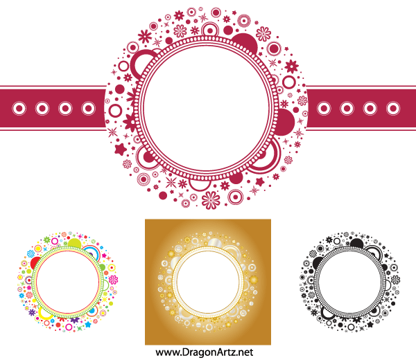 Free Flower Circle Frame Vector PSD Files Vectors Graphics