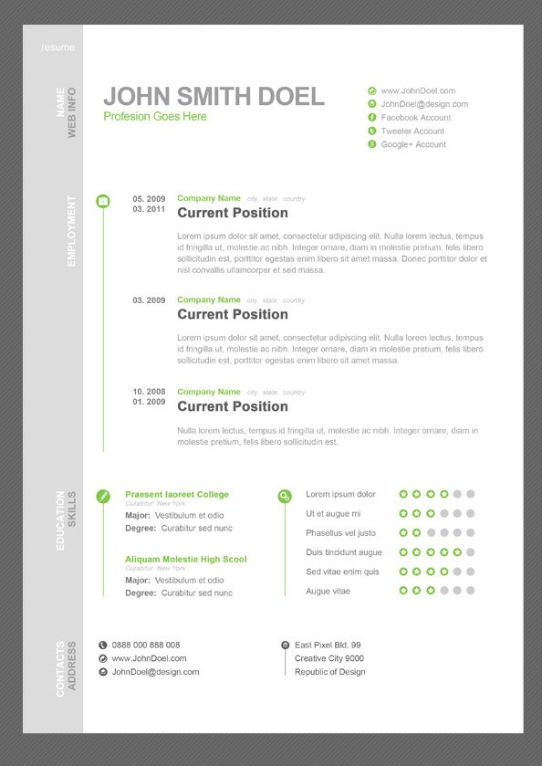 free cv resume free psd template psd files vectors graphics