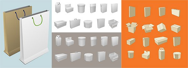 Blank boxes and packaging material bag
