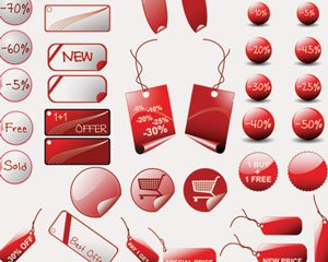 Stock Illustrations Red-Stickers-Sale