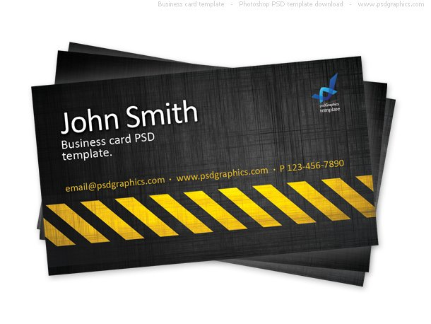 Business card template, construction hazard stripes theme ...