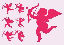 Flying Cupid Silhouettes