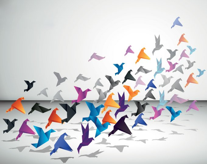 Origami Flying Birds