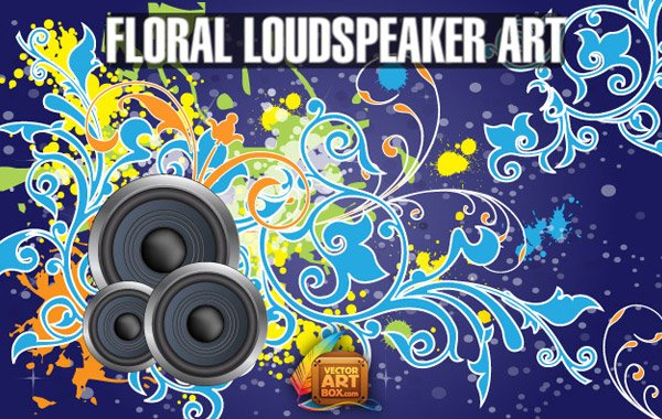 Vector Free Floral Loudspeaker BG Art Background Floral Template