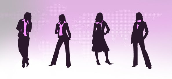 Business Woman Silhouettes Set