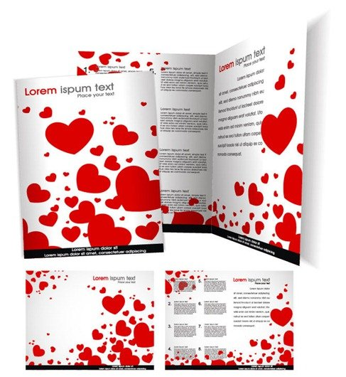 Vector Brochure Template with Love Heart