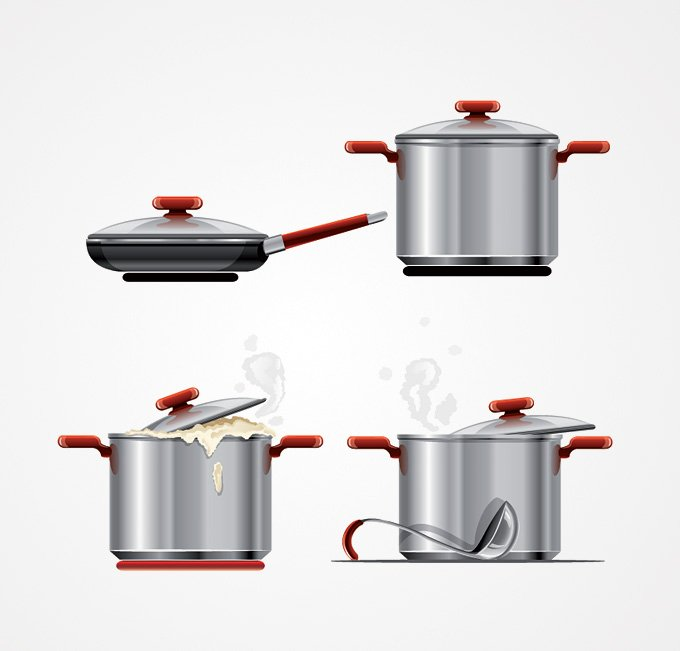 Metal Cooking Pot & Pan Vector Graphics (Free)